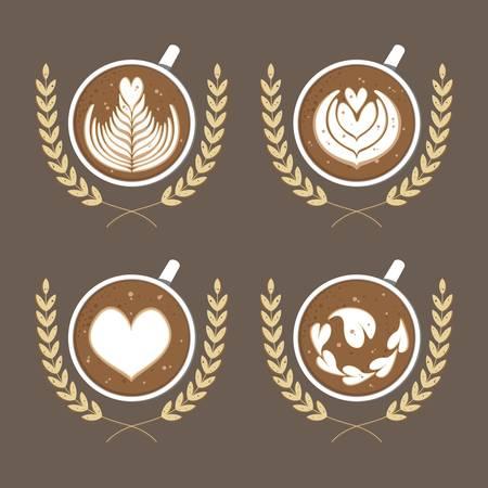 Coffee latte art vector bundle