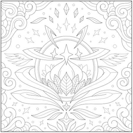 Fantasy lotus orb inside glass ball with border and frame. Learning and education coloring page illustration for adults and children. Outline style, black and white drawing