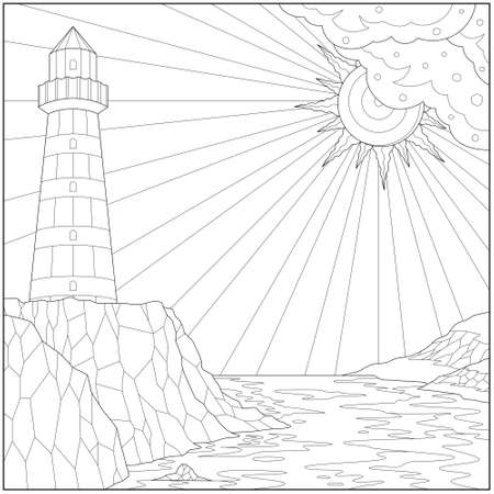Fantasy lighthouse on the shore under the sunlight. Learning and education coloring page illustration for adults and children. Outline style, black and white drawing