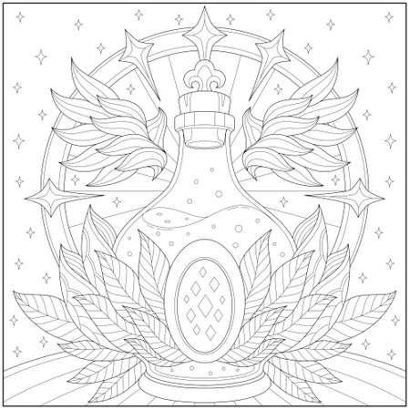Beautiful angelic vial with gemstone and leaf decoration. Learning and education coloring page illustration for adults and children. Outline style, black and white drawing.