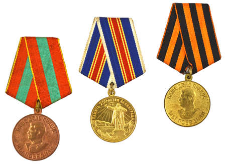 three medals for bravery isolated on white background