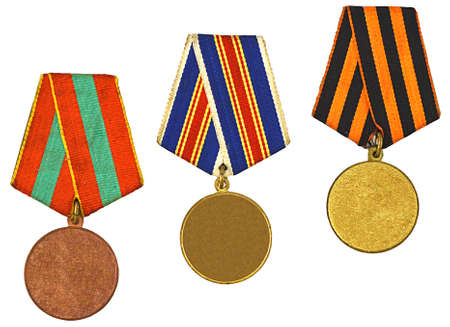 three patterns medals isolated on white photo