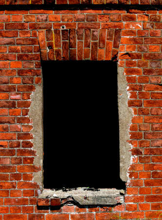 insulated window opening in an old brick wall