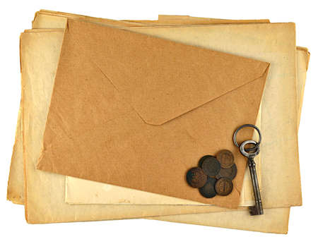 pile of vintage papers isolated on white Stock Photo