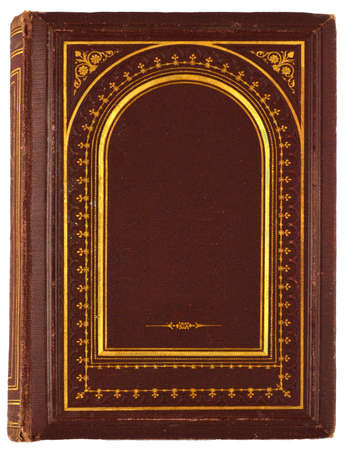 brown, old book with gilded ornament isolated on white photo