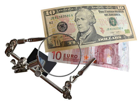 dollar and euro under a magnifying glass isolated on white background photo