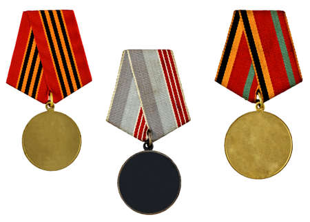 three patterns medals isolated on white background photo