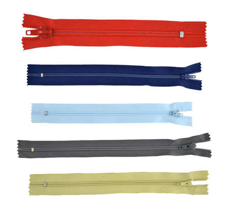 collection, zippers for clothing isolated on white