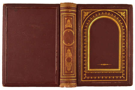brown, old book with gilded ornament isolated on white