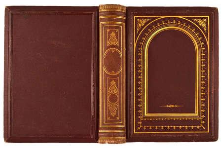 portadas de libros: libro marr�n, dorado viejo con el ornamento aislado en blanco