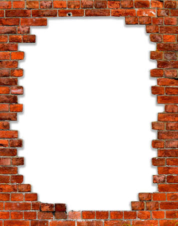 yellow wall: hole in a brick wall with isolated on white edges Stock Photo