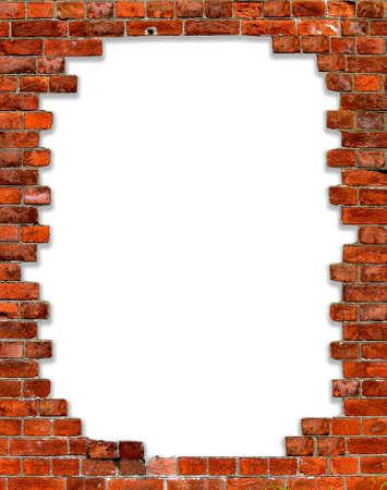 brique: trou dans un mur de briques avec isol� sur les bords blancs
