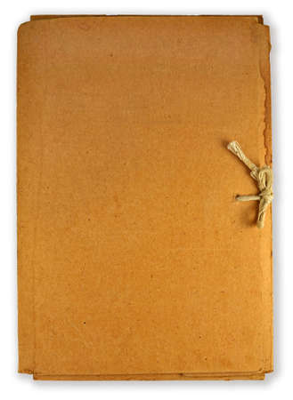 old cardboard folder isolated on white Stock Photo