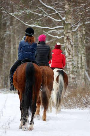 three rider riding on winter road photo