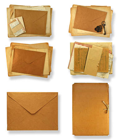 collection of old papers, letters and folder isolated on white background