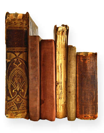 collection old books izolated on white photo