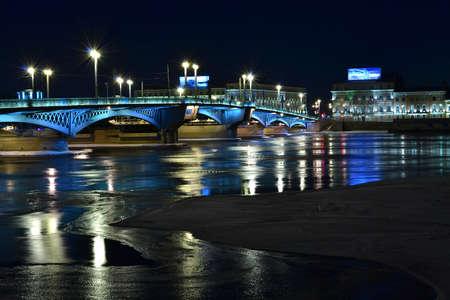 bridge with towers night landscape Stock Photo