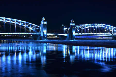 bridge with towers night landscape photo