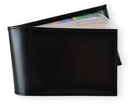 black leather business card holder isolated on white photo