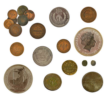 collection of old and new coins isolated on white Stock Photo