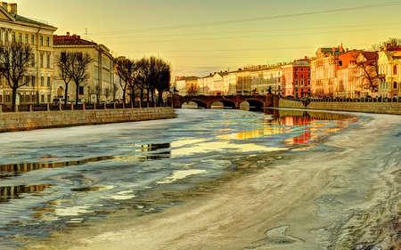 city embankment in winter