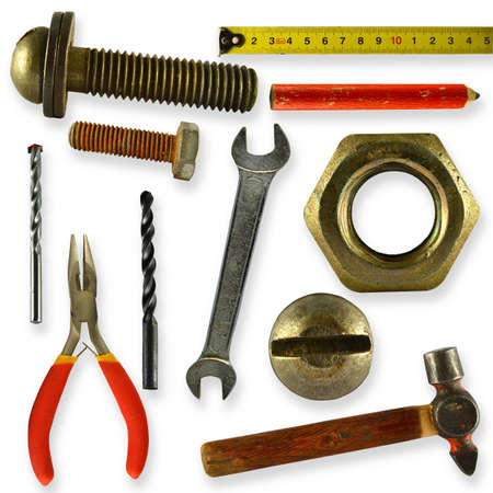 a collection of tools isolated on white background photo