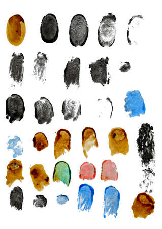 fingerprints of different colors isolated on white background photo