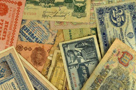 background of many of the old banknotes photo