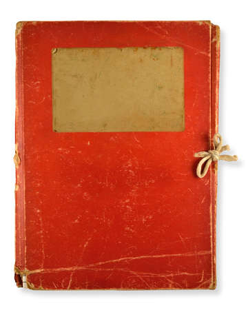 old red folder isolated on white background photo