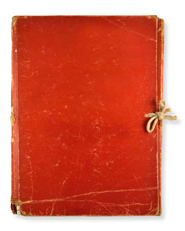blank note book: old red folder isolated on white background