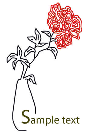 postcard with a picture of a red flower in a vase Stock Photo