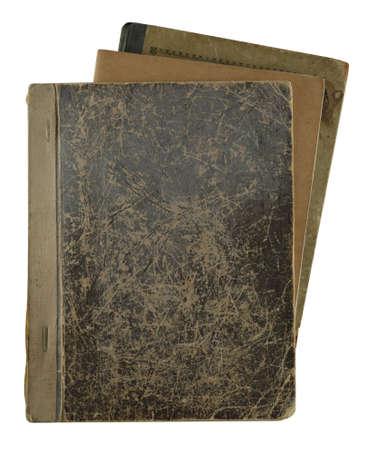 pile of old notebooks isolated on white