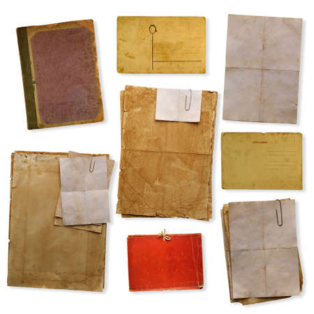 collection of old papers isolated on white background