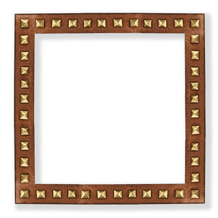 leather frame with metal rivets isolated on white