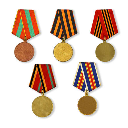 five patterns medals isolated on white  photo