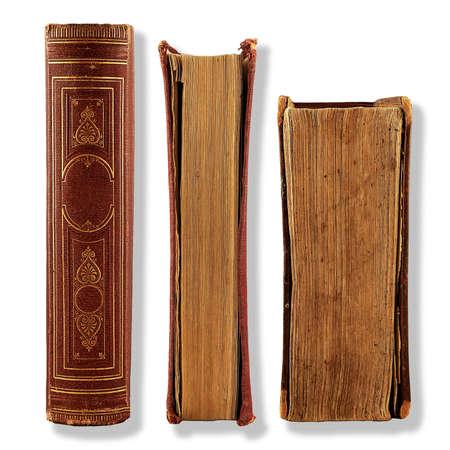 old aged: raccolta di vecchi libri isolati su bianco Archivio Fotografico