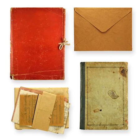 Set of old books, folders and envelope isolated on white . Stock Photo