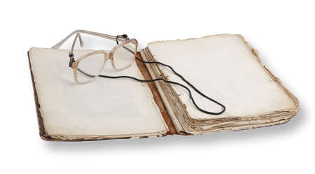 Old open book isolated on white background Stock Photo