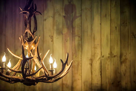 moose antlers as a lamp on the background of old boards