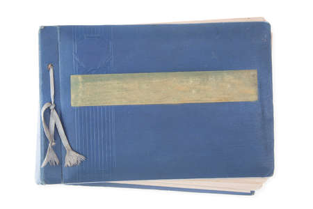 old, blue album isolated on white background Stock Photo