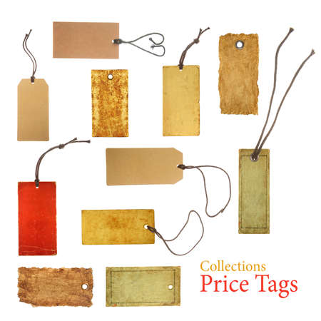 collection paper price tags isolated on white background