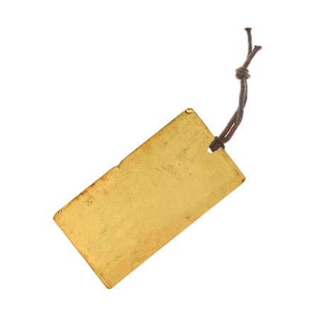 yeloow: price tag on waxed cord from yeloow paper, white background