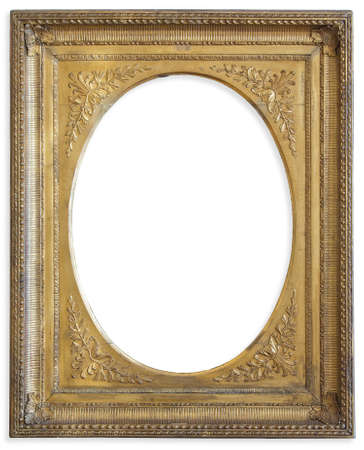 gild: Gold frame. Gold gilded arts and crafts pattern picture frame.