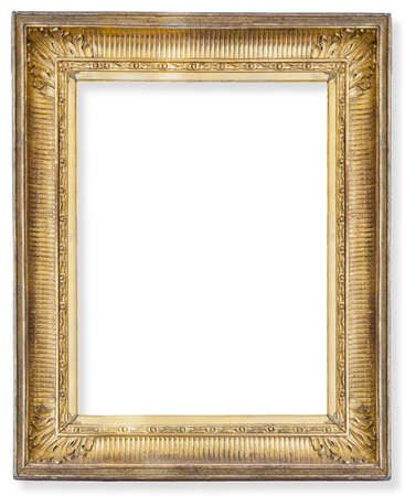 gilded: Gold frame. Gold gilded arts and crafts pattern picture frame.