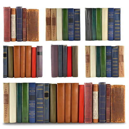 set of spine books isolated on white