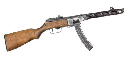 world war ii: machine gun from World War II isolated on white background. Automatic gun.