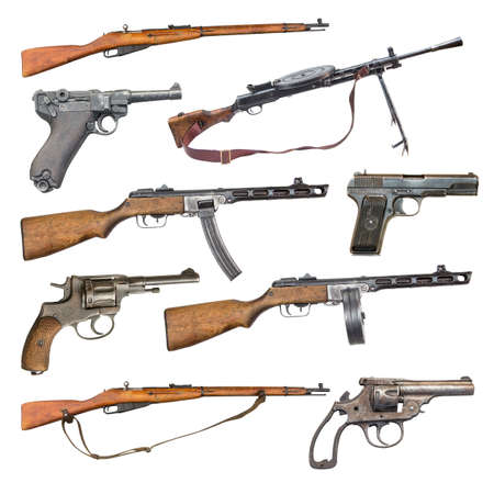 set of antique firearms weapons. pistols, rifles, machine guns isolated on white background Stock Photo