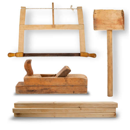 carver: set of hand tools for joinery. Hand saw, mallet, planer, stack of wooden planks isolated on white background