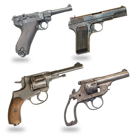 a set of pistols isolated on a white background. Pistol, revolver, glock, guns,weapons