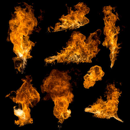 High resolution texture fire collection isolated on black background Stock Photo